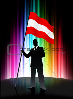 Austria Flag with Businessman on Abstract Spectrum Background