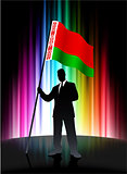 Belarus Flag with Businessman on Abstract Spectrum Background