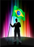 Brazil Flag with Businessman on Abstract Spectrum Background