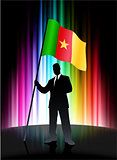 Cameroon Flag with Businessman on Abstract Spectrum Background