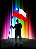 Chile Flag with Businessman on Abstract Spectrum Background