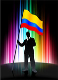 Columbia Flag with Businessman on Abstract Spectrum Background