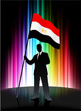 Egypt Flag with Businessman on Abstract Spectrum Background