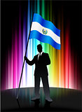 El Salvador Flag with Businessman on Abstract Spectrum Backgroun