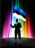 Estonia Flag with Businessman on Abstract Spectrum Background