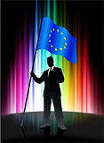 European Union Flag with Businessman on Abstract Spectrum Backgr