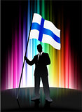 Finland Flag with Businessman on Abstract Spectrum Background