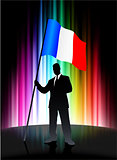France Flag with Businessman on Abstract Spectrum Background