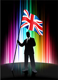 Great Britain Flag with Businessman on Abstract Spectrum Backgro
