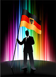 Germany Flag with Businessman on Abstract Spectrum Background