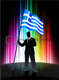 Greece Flag with Businessman on Abstract Spectrum Background