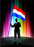 Holland Flag with Businessman on Abstract Spectrum Background