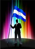 Honduras Flag with Businessman on Abstract Spectrum Background