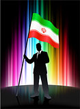 Iran Flag with Businessman on Abstract Spectrum Background