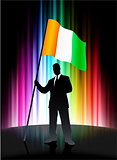 Ireland Flag with Businessman on Abstract Spectrum Background