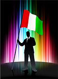Italy Flag with Businessman on Abstract Spectrum Background