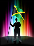 Jamaica Flag with Businessman on Abstract Spectrum Background