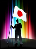 Japan Flag with Businessman on Abstract Spectrum Background