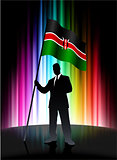 Kenia Flag with Businessman on Abstract Spectrum Background