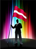 Latvia Flag with Businessman on Abstract Spectrum Background