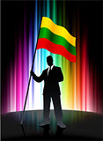 Lithuania Flag with Businessman on Abstract Spectrum Background