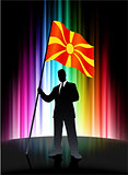 Macedonia Flag with Businessman on Abstract Spectrum Background