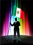 Mexico Flag with Businessman on Abstract Spectrum Background
