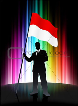 Monaco Flag with Businessman on Abstract Spectrum Background