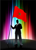 Morocco Flag with Businessman on Abstract Spectrum Background