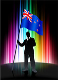 New Zealand Flag with Businessman on Abstract Spectrum Backgroun