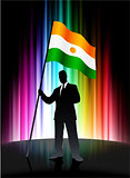 Niger Flag with Businessman on Abstract Spectrum Background