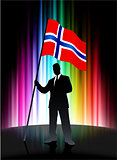 Norway Flag with Businessman on Abstract Spectrum Background