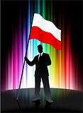Poland Flag with Businessman on Abstract Spectrum Background