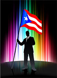 Puerto Rico Flag with Businessman on Abstract Spectrum Backgroun