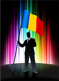 Romania Flag with Businessman on Abstract Spectrum Background