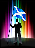 Scotland Flag with Businessman on Abstract Spectrum Background
