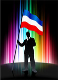 Serbia and Montenegro Flag with Businessman on Abstract Spectrum