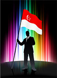 Singapore Flag with Businessman on Abstract Spectrum Background