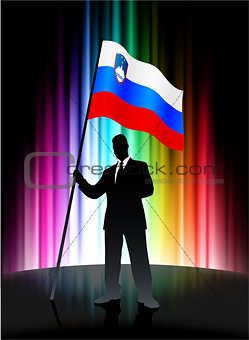 Slovenia Flag with Businessman on Abstract Spectrum Background