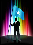 Somalia Flag with Businessman on Abstract Spectrum Background