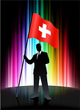 Switzerland Flag with Businessman on Abstract Spectrum Backgroun