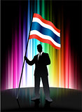 Thailand Flag with Businessman on Abstract Spectrum Background