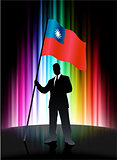 Taiwan Flag with Businessman on Abstract Spectrum Background