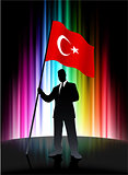 Turkey Flag with Businessman on Abstract Spectrum Background