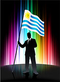 Uruguay Flag with Businessman on Abstract Spectrum Background