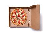 Delicious ham pizza in box