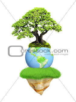 Earth, flying island and tree