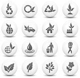 Nature Icon on Round Black and White Button Collection