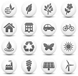 Environment Icon on Round Black and White Button Collection