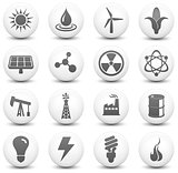 Energy Icon on Round Black and White Button Collection